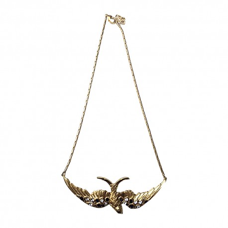 GOLD PLATED BIG BIRD WITH WHITE AND BLACK STRASS