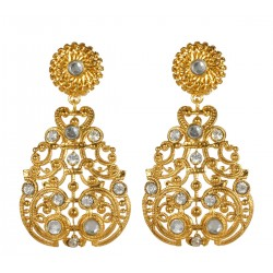 Gold plated Pear Shaped Filigree with strass Earrings