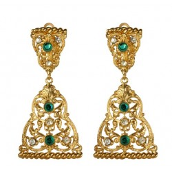 Golden Triangular Filigree  Earings
