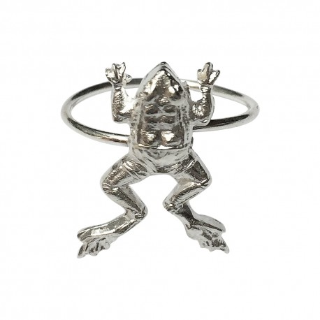 SILVER PLATED FROG RING