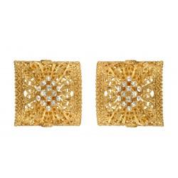 Golden Rectangular Shaped Filigree Earings
