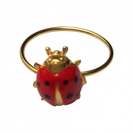 GOLD PLATED LADYBIRD WITH RED NAD BLACK LACQUER RING