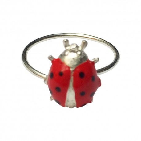 SILVER PLATED LADYBIRD WITH RED AND BLACK LACQUER RING