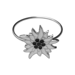 SILVER PLATED FLOWER WITH WHITE AND BLACK LACQUER RING
