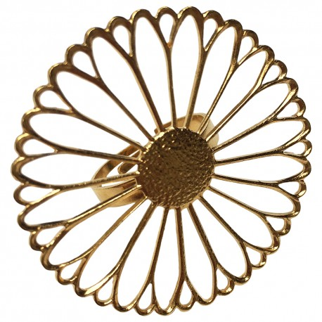 GOLD PLATED BIG FILIGREE FLOWER RING