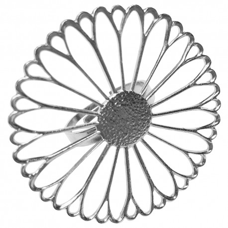 SILVER PLATED BIG FILIGREE FLOWER RING