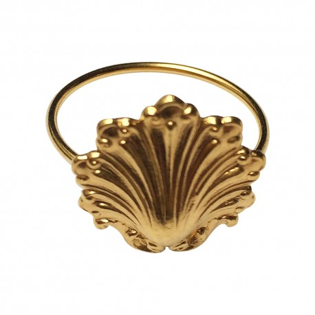 GOLD PLATED SHELL RING