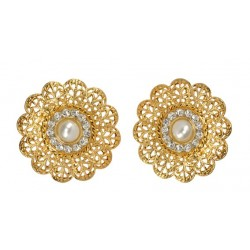 Golden Earings With A Central Pearl