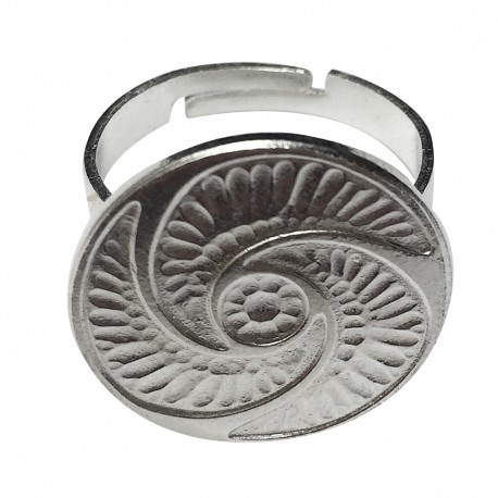SILVER PLATED BUTTON RING