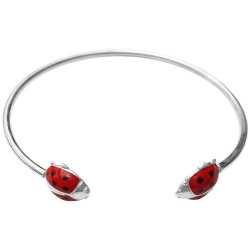 SILVER PLATED LADY BIRD WITH RED AND BLACK LACQUER BRACELET