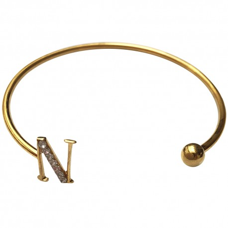 Gold Plated N Letter With White Strass Bracelet