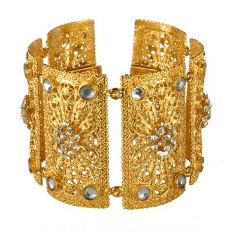 Golden Rectangular Filigree Bracelet