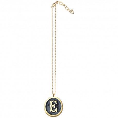 GOLD PLATED ROUND LETTER E WITH COLOURED COLD ENAMEL PENDANT