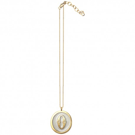 GOLD PLATED ROUND LETTER 0 WITH COLOURED COLD ENAMEL PENDANT