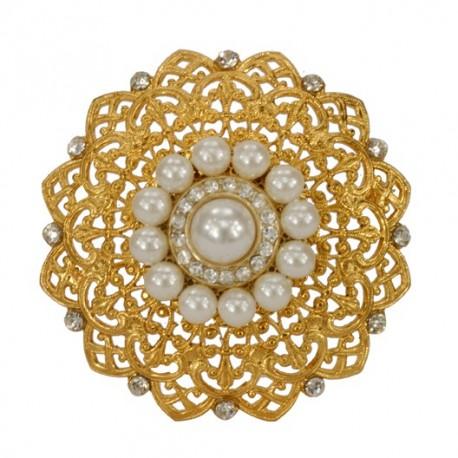 Broche Rang De Perle Dorée