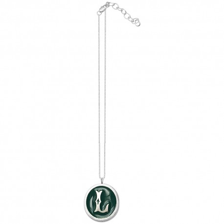 SILVER PLATED L LETTER GREEN COLD ENAMEL PENDANT