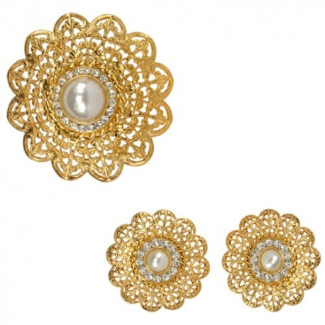 Golden Central Pearl Filigree ( Brooch + Earings)