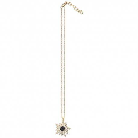 GOLD PLATED FLOWER BLACK AND WHITE COLD ENAMEL WITH CHAIN PENDANT