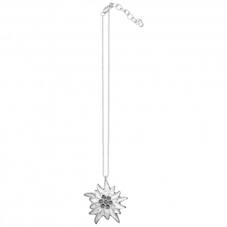 SILVER PLATED FLOWER BLACK AND WHITE COLD ENAMEL PENDANT