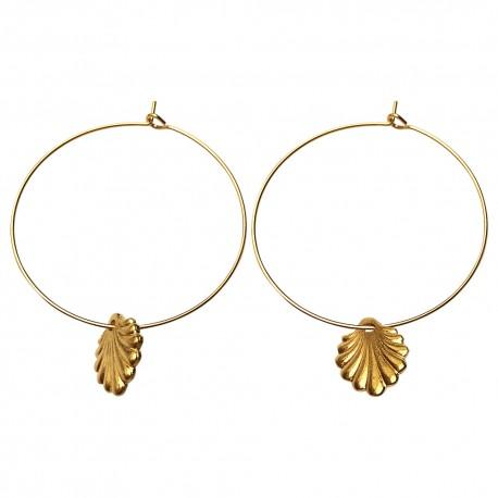GOLD PLATED SHELL HOOP EARRINGS