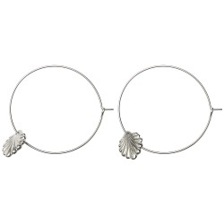 SILVER PLATED SHELL HOOP EARRINGS