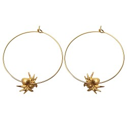 GOLD PLATED SPIDER HOOP EARRINGS