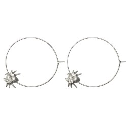 SILVER PLATED SPIDER HOOP EARRINGS