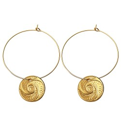 GOLD PLATED BOUTON HOOP EARRINGS