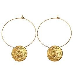 GOLD PLATED BOUTON HOOP EARRINGS