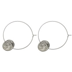 SILVER PLATED BOUTON HOOP EARRINGS