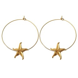 GOLD PLATED SEA STAR HOOP EARRINGS