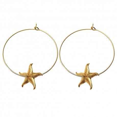 GOLD PLATED SEA STAR HOOP EARRINGS