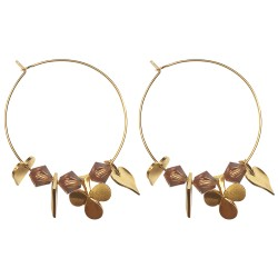 GOLD PLATED CARDS SWOROVSKI CRYSTAL HOOP EARRINGS