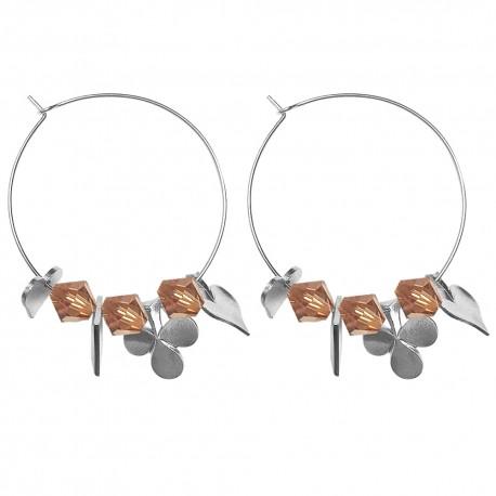 SILVER PLATED CARDS SVAROVSKI CRYSTAL HOOP EARRINGS