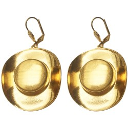 GOLD PLATED HAT EARRINGS