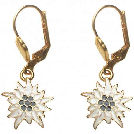 GOLD PLATED FLOWER WHITE AND BLACK COLD ENAMEL EARRINGS