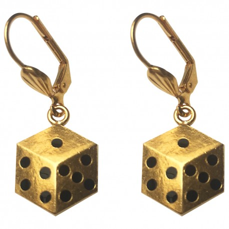 GOLD PLATED DICE BLACK COLD ENAMEL EARRINGS
