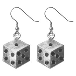 SILVER PLATED DICE BLACK COLD ENAMEL EARRINGS