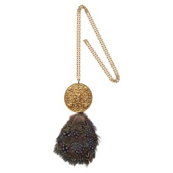 GOLD PLATED TALISMAN WITH FEATHER UNIQUE PIECE PENDANT