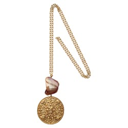 GOLD PLATED TALISMAN WITH AGATHE PENDANT