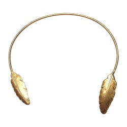 GOLD PLATED 2 FEATHERS NECKLACE