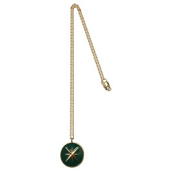GOLD PLATED COMPASS GREEN COLD ENAMEL PENDANT