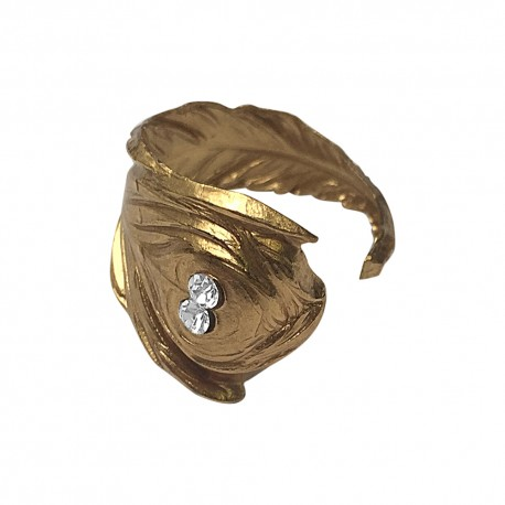 GOLD PLATED FEATHER WITH WHITE STRASS