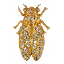 gold plated  Cicada with white strass Brooch