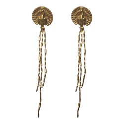 GOLD PLATED PEACOCK STUDS WITH CHAINS EARRINGS