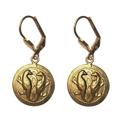GOLD PLATED 2 BIRDS EARRINGS
