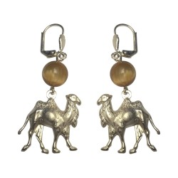 SILVER PLATED CAMEL WITH TIGER EYE STONE EARRINGS