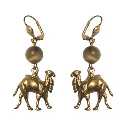 GOLD PLATED CAMEL WITH TIGER EYE STONE EARRINGS
