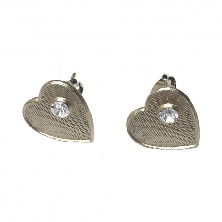 SILVER PLATED HEART WITH WHITE STRASS STUDS EARRINGS