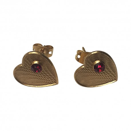 GOLD PLATED HEART WITH RED STRASS STUDS EARRINGS